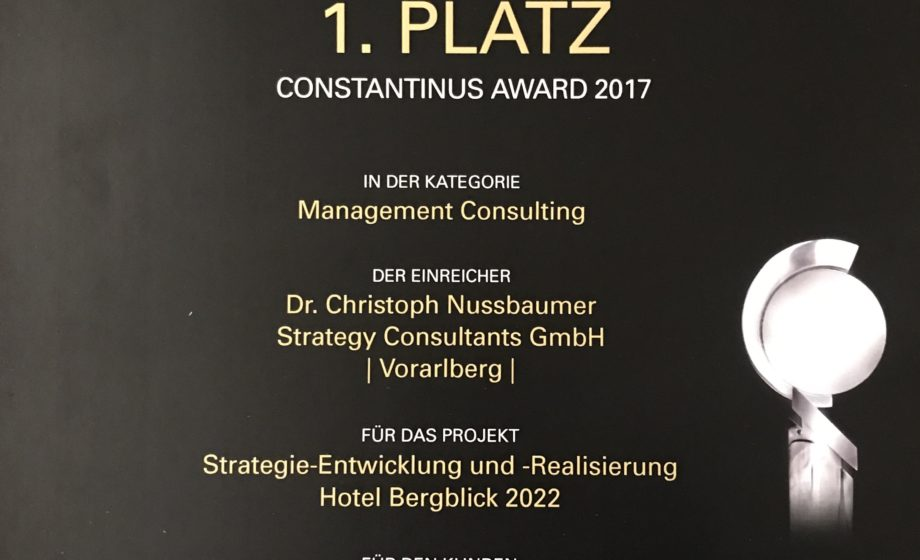 Constantinus Award 2017 Dr. Christoph Nussbaumer Strategy Consultants GmbH