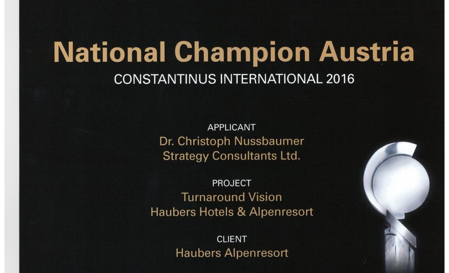 National Champion Austria Dr. Christoph Nussbaumer Strategy Consultants GmbH