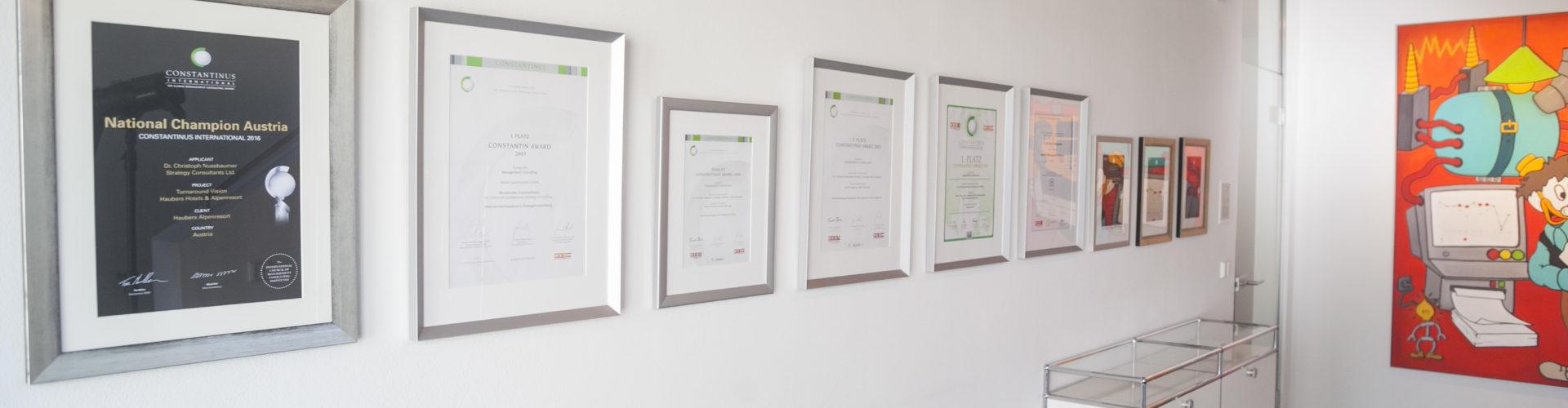 Constantinus Award-Preisträger in der Kategorie Management Consulting: 2006: 1. Platz; 2005: 2. Platz; 2004: Finalist; 2003: 1. Platz